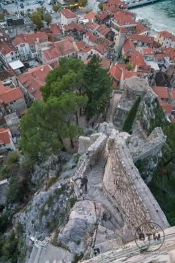 Aaron looking up to the top of the fortress in Omis, Croatia