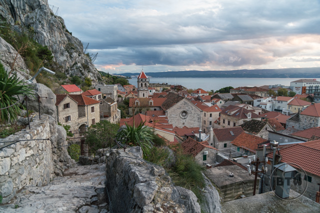 A view of the city from the fortress in Omis, Croatia