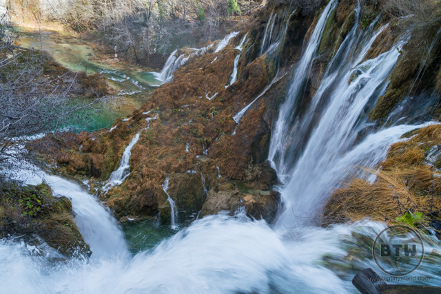 A large waterfall in Plitvice Lakes National Park, Croatia