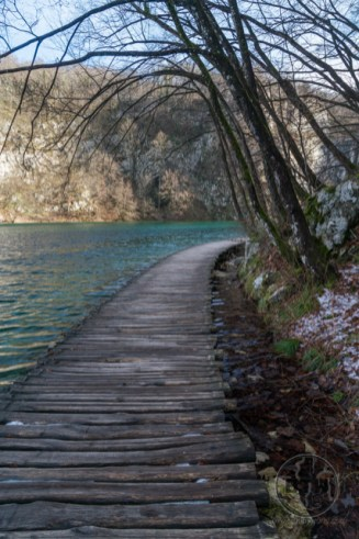 A boardwalk along the edge of one of the many lakes in Plitvice Lakes National Park, Croatia