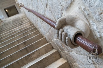 A hand carving handrail at the Rector's Palace in Dubrovnik, Croatia
