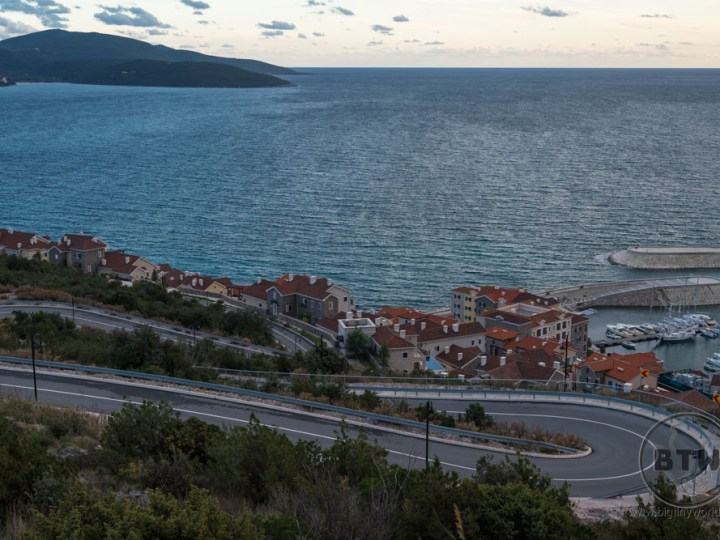 A winding road on the coast in Tivat, Montenegro
