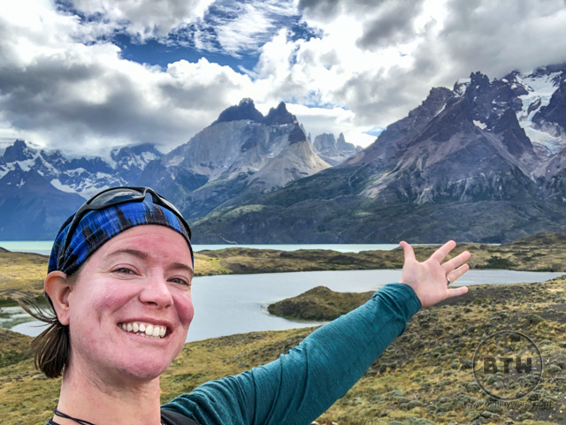 Brianna showing off the mountains in Torres Del Paine National Park