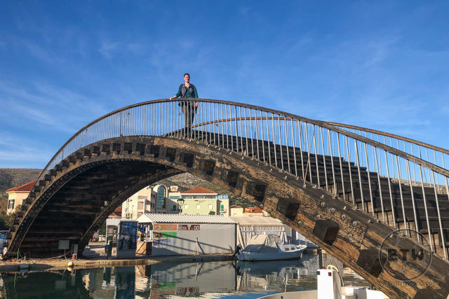 Brianna on a footbridge over a canal in Trogir, Croatia