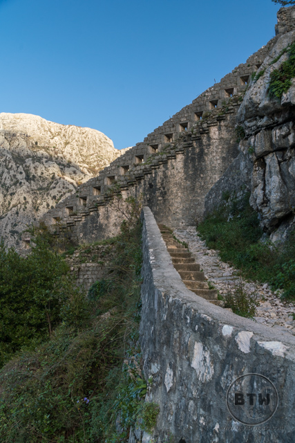 Steps leading up to the ruins of the Fortress of St. John in Kotor, Montenegro
