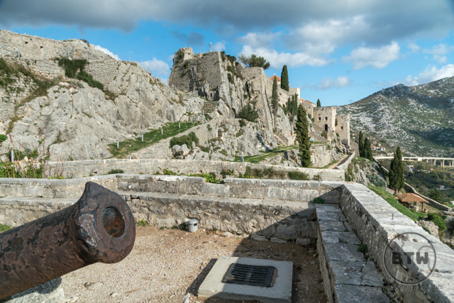 A cannon at the Klis Fortress near Split, Croatia