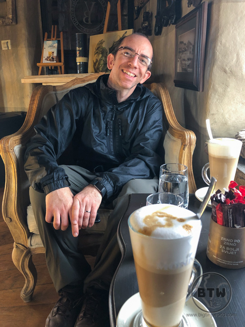 Aaron in a coffee shop at Trsat Castle in Rijeka, Croatia