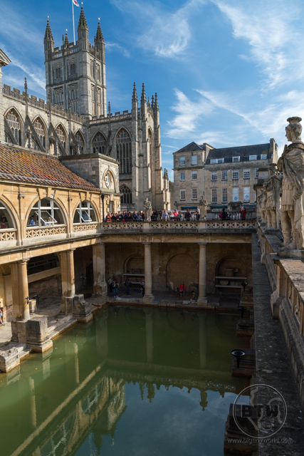 The main pool at the Roman baths in Bath, UK
