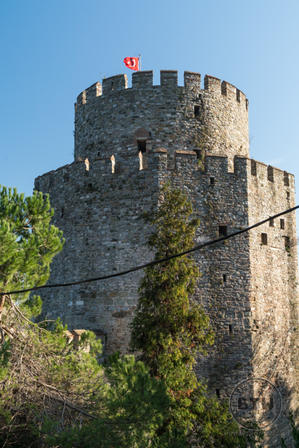 A tower at the Rumeli Hisari fortress ruins in Istanbul, Turkey