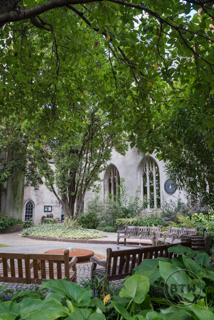 The courtyard of St. Dunstan's in the East in London, UK