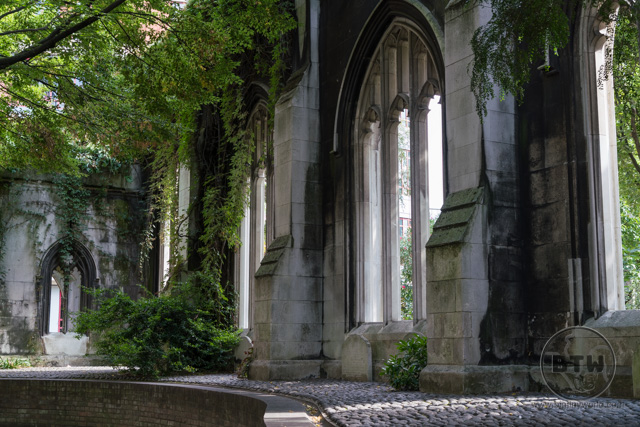 The wall of the church ruins of St. Dunstan's in the East in London, UK