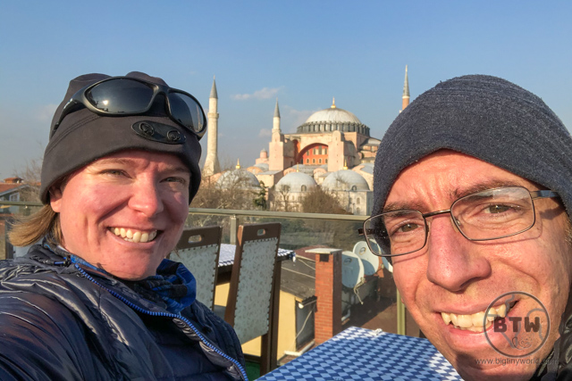 Aaron and Brianna in front of the Hagia Sofia in Istanbul, Turkey
