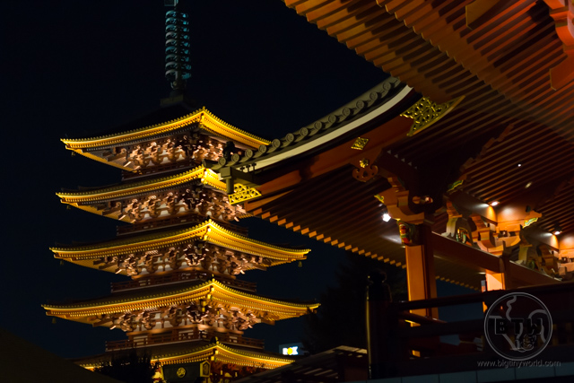 A pagoda lit up at night in Tokyo, Japan