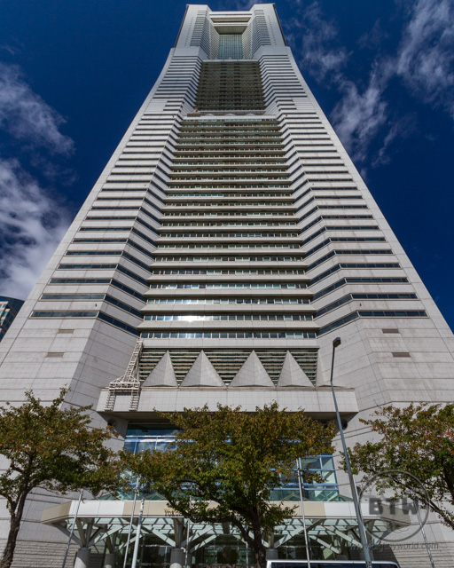 The Yokohama Landmark Tower in Japan, viewed from below