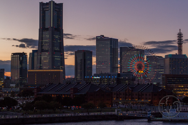 The dusk Yokohama skyline in Japan