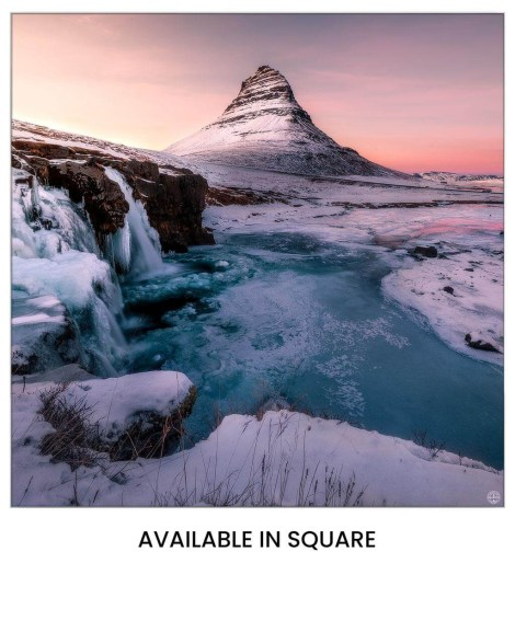 Biggest Art Decor Big Oversized Massive Huge Large Largest Giant Wall Décor Art Backlit Fabric Home Deco Artwork Artist landscape street city nature Scenic Photographer Scott Wilson Kirkjufell Iceland Snow Water Sunset