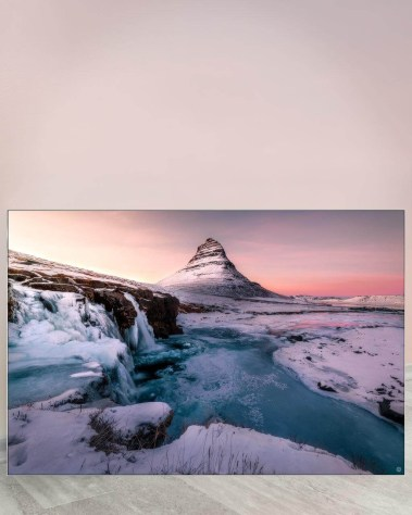 Biggest Massive Huge Large Largest Giant Wall Décor Art Backlit Fabric Home Deco Artwork Artist landscape street city nature Scenic Photographer Scott Wilson Kirkjufell Iceland Snow Water Sunset