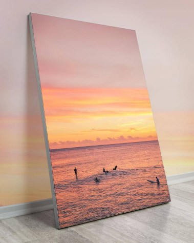 Enormous Orange Haze Hawaiian Surfers Wall Decor
