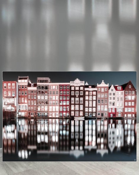 Gigantic Big Biggest Massive Huge Large Largest Giant Wall Décor Art Backlit Fabric Home Deco Artwork Artist landscape street city nature Scenic Photographer Scott Wilson Amsterdam Netherlands Canal Water Houses