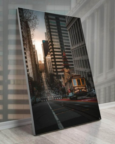 Gigantic Big Biggest Massive Huge Large Largest Giant Wall Décor Art Backlit Fabric Home Deco Artwork Artist landscape street city nature Scenic Photographer Scott Wilson San Francisco City Street Trolley