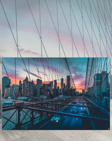 Oversized Home Decor New York Huge Wall Art Massive Gigantic Big Large Largest Giant Wall Décor Art Backlit Fabric Home Deco Artwork Artist New York City Street Icon Portrait Scenic Photographer Nick Ford Nick40V Brooklyn Bridge City Traffic Water