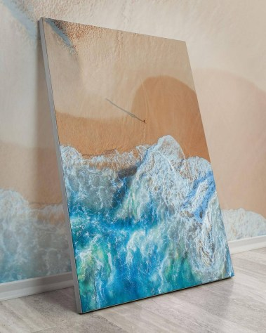 Oversized sandy ocean waves wall decor