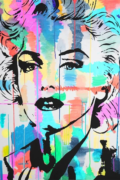Big Artist Lukas Avalon lukasavalon Oversized Wall Art home Decor Spray Paint Painting Colorful Abstract Grafitti Celebrity Celeb Pop Art Marilyn Monroe Instagram Artist