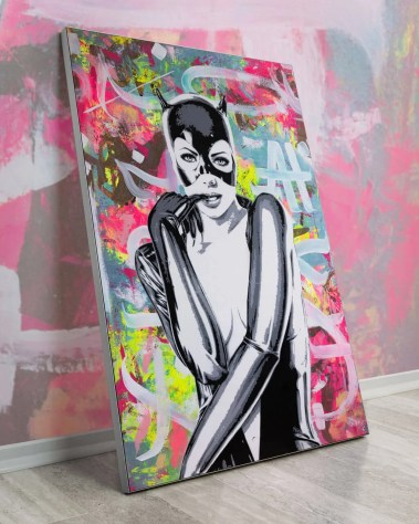 Oversized Wall Decor Pop Art Grafitti Spray Paint Lukas Avalon Lukasavalon Monaco Artist Instagram Pop Art Printing Strokes Colorful Abstract Portrait Batman Catwoman Batwoman Comic