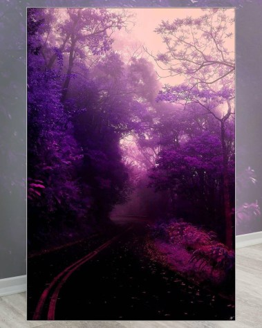Large wall decor featuring a winding road with purple trees and an orange sky