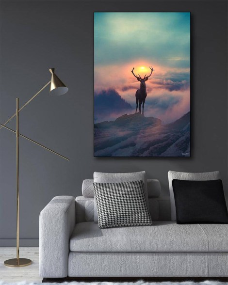 Big Deer Sunrise Mountain Wall Art Huge Decor Prints