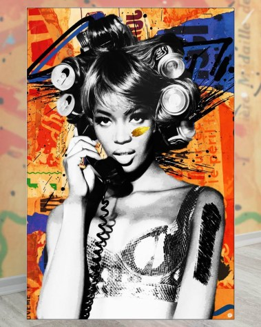 Large Naomi Campbell Model Pop Art Collage Wall Art