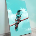 Large Surreal Hummingbird Bird Surrealism Wall Art Decor