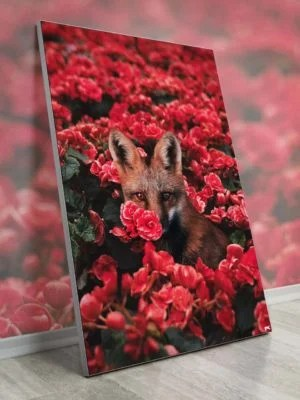 Oversized Fox Floral Nature Red Wall Art Decor