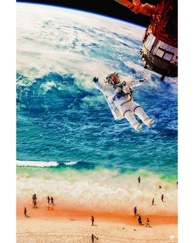 Huge Astronaut Floating Off to Sea Wall Art Huge Decor Prints
