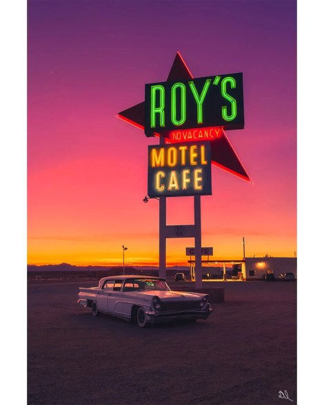 Big Route 66 California Classic Car Retro Wall Art