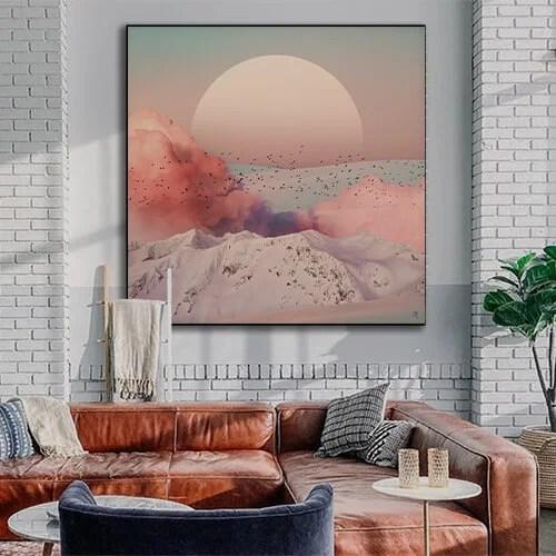 Large Minimalist Minimal Simple Calm Neutral Wall Art Home Decor