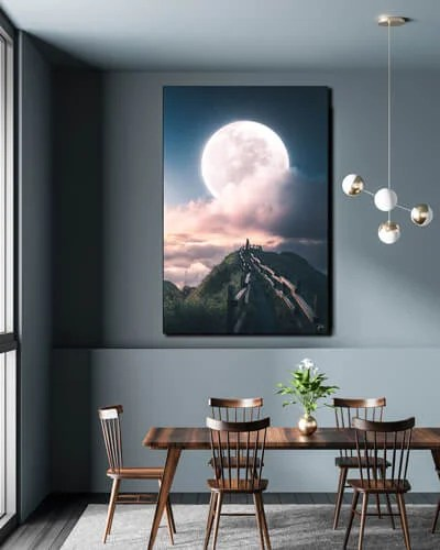 Surreal Wall Art Moon Mountains Large