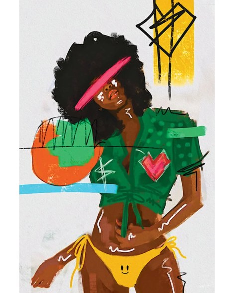 Large Colorful Painted Summer Model Pop Art Grafitti Popular Culture Painted Wall Decor