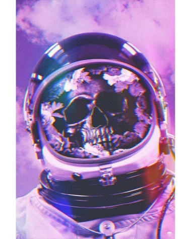 Skeleton Astronaut Space Surreal Surrealism Trippy Wall Art for Oversized Home Decor