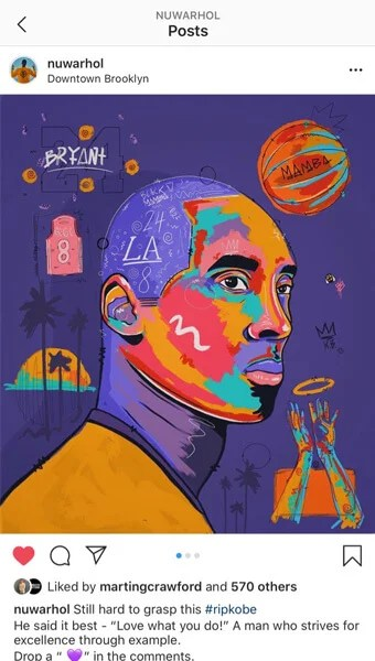 Big Kobe Bryant Mamba Gigi Bryant Pop Art Painted Wall Decor