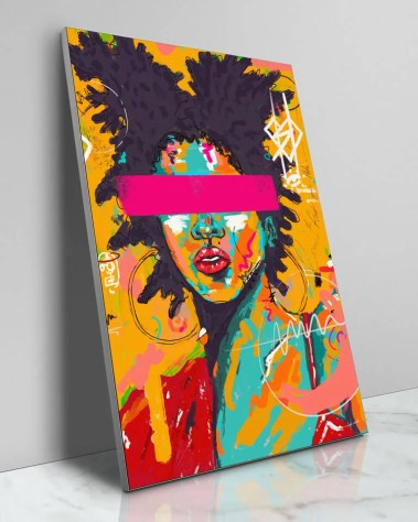 Large Colorful Painted Basquiat Artist Model Pop Art Grafitti Popular Culture Painted Wall Decor