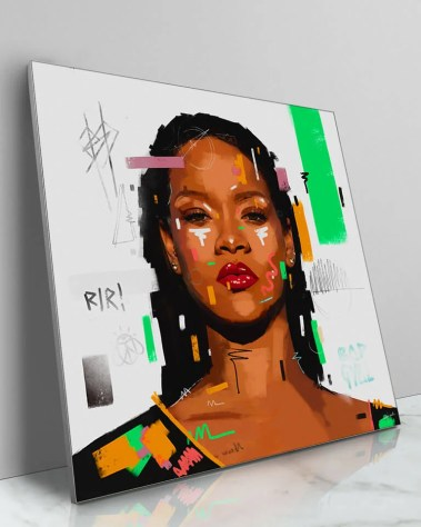 Large RiRi Rihanna Pop Art Celebrity Popular Culture Painted Wall Decor