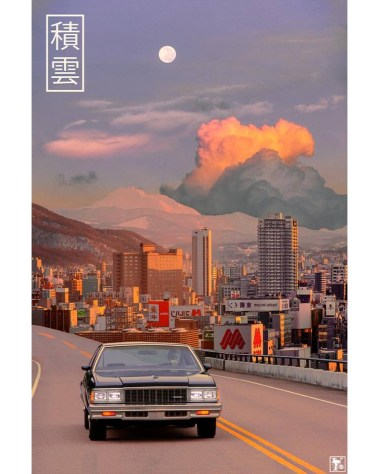 Big Surreal Japan Highway Retro Collage Wall art for Home Decor by Yagedan