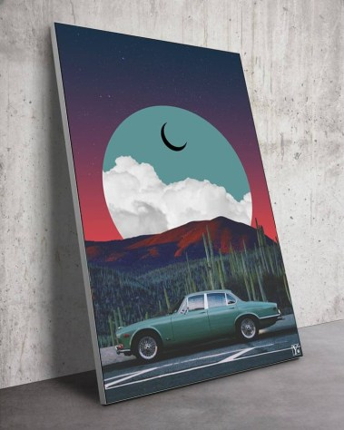 Big Surreal Jaguar Car Vaporwave Retro Collage Wall art for Home Decor by Yagedan