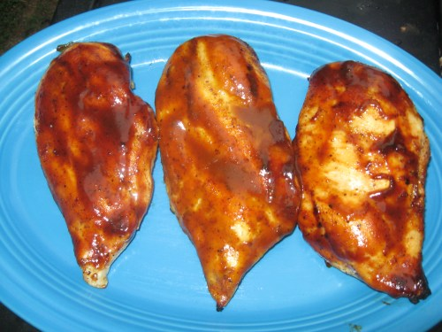 Grilled Chicken Breasts -- bookend pieces have BBQ sauce from Draper's BBQ, middle piece uses mustard based sauce from Uncle Kenny's BBQ
