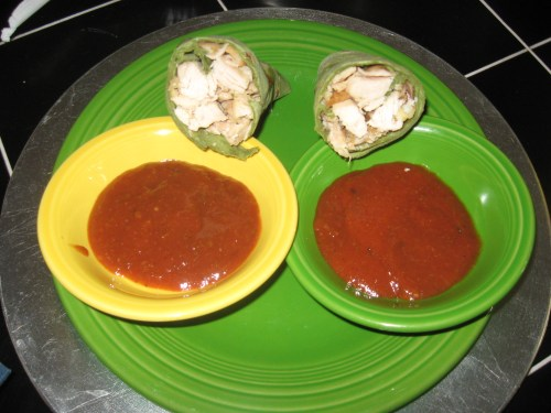 Chicken wrap and the sauces (original on left, chipotle on right)