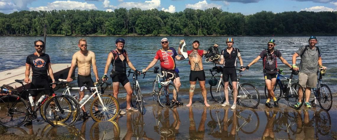 Caleb and his cycling friends at Ragbrai