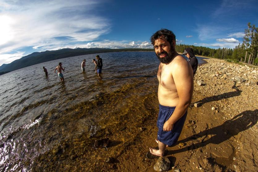 Pancho Barrera about to cool down in a reservoir near Leadville on the Colorado Road Trip