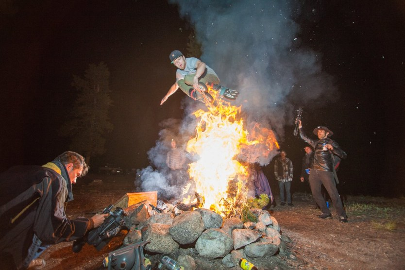 Ian Forgette with a zero spin over the fire during the 2016 Colorado Road Trip