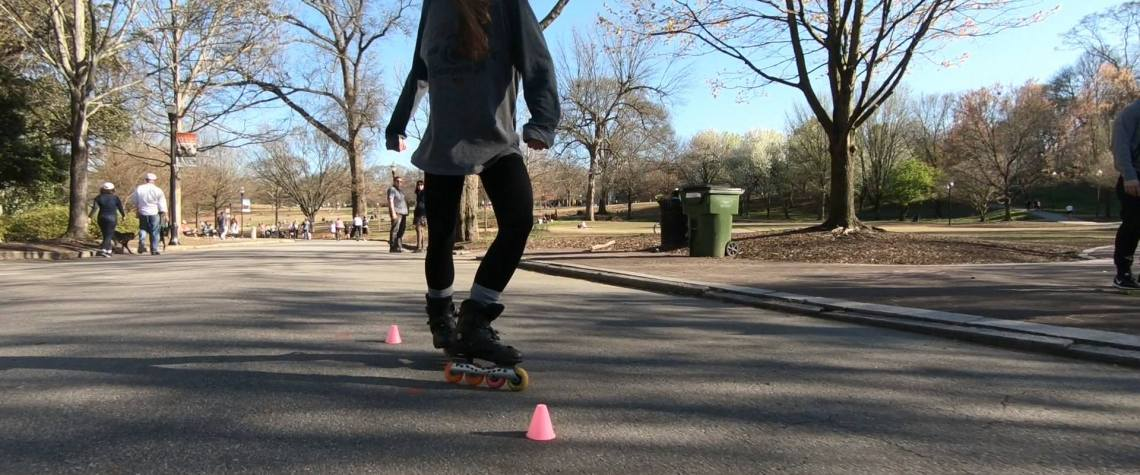 Teashia of Roll ATL practicing slalom skating